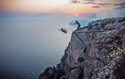 Прыжок с верёвкой на Кая-Баш